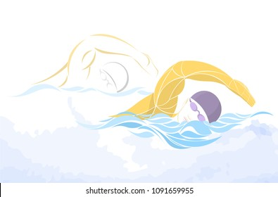 swimmer boy vector. swimming butterfly. Muscular young man in blue cap in swimming pool