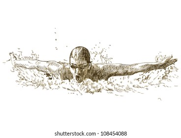 Swimmer, butterfly swiming style - hand drawing picture converted into vector