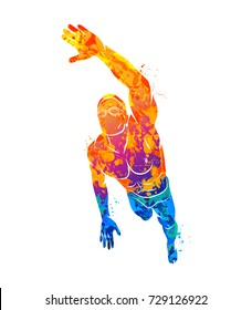 A swimmer dives into the water from splash of watercolors. Vector illustration of paints.