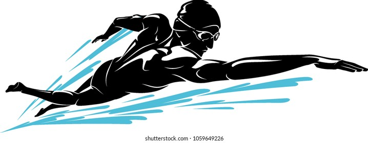 Swimmer Front Crawl Shadow