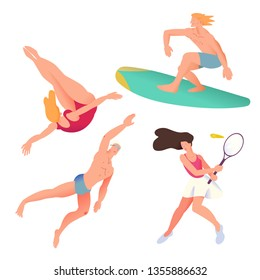 The swimmer, surfer, tennis player and diver. Sportsman set in flat with gradient design. It can be used for flyer, banner to sporting events, packing for sports goods. Vector illustration.