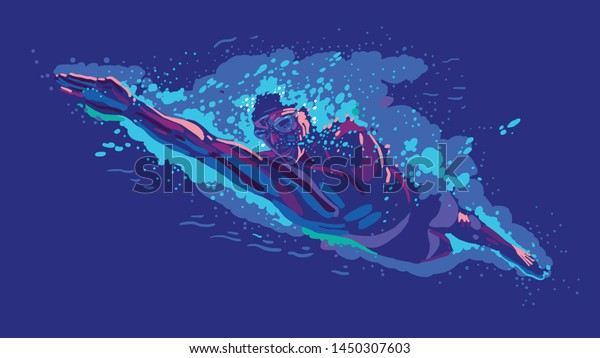 Swimmer training in the swimming pool. Vector illustration in male swimmer inside swimming pool. Sports poster