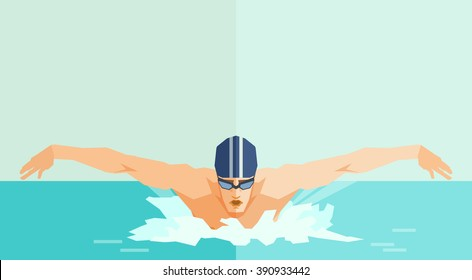 swimmer. vector illustration with swimming man. swimming style Butterfly