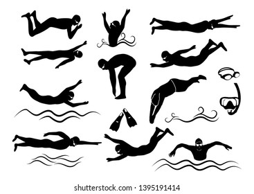Swimmer vector silhouette and swimmer four strokes