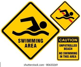 Swimming area and no swimming hazard-warning signs.