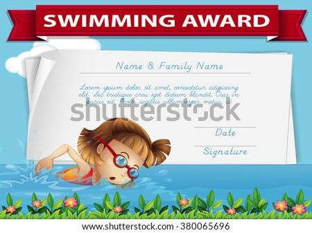 Swimming Award Certificate Template Illustration