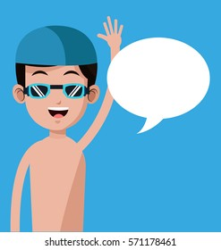 swimming boy with cap goggles-bubble speech