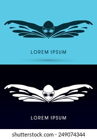 Swimming Butterfly, with wave water, Swimming pool ,logo, symbol, icon, graphic, vector.