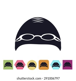 Swimming cap with glasses icon