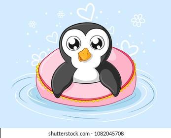 Swimming cartoon penguin with a big swim ring