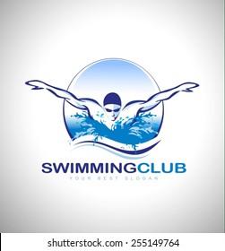 Swimming Club Logo Design. Swimmer icon design. Creative Swimmer Vector.