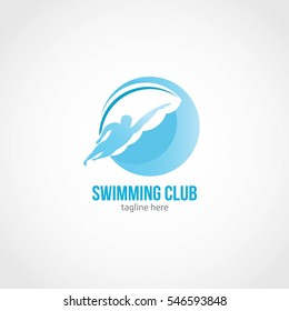 Swimming Club Logo Design Template. Vector Illustration