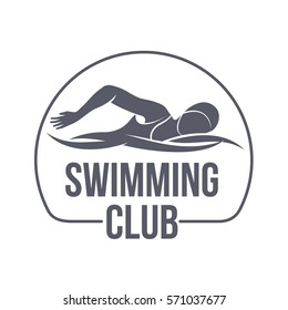 Swimming club logo templates. Fitness, Aerobic, workout exercise in gym. Sport badges and labels. Black and white logo templates for your design. Vector illustration isolated on white background.