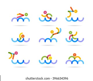 swimming colorful icons for business logo and designs