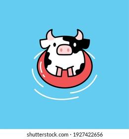 swimming cute cow playful cartoon logo vector icon illustration