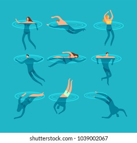Swimming and diving people in swimming pool cartoon vector illustration. Swim sport and dive in sea.