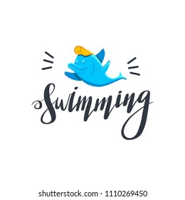 Swimming dolphin. Letting text swimming.