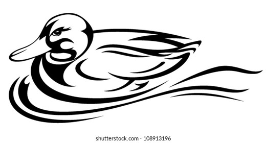 swimming duck vector illustration - black and white outline
