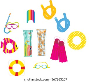 Swimming equipment. Flippers, ring, goggles, noodle, mask and snorkel, lilos