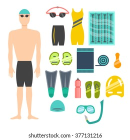 swimming flat icons set. vector illustration.