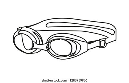 swimming glasses contour vector illustration