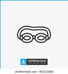 swimming glasses icon. simple outline swimming glasses vector icon. on white background.