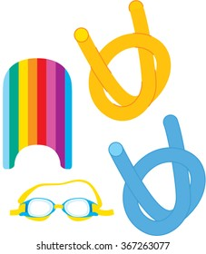 Swimming goggles, board and pool noodle  equipment. vector illustration