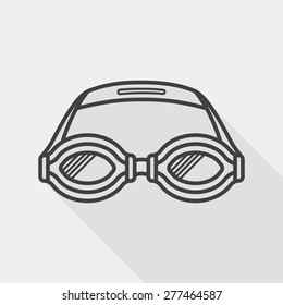 swimming goggles flat icon with long shadow, line icon