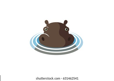 Swimming Hippopotamus Logo Symbol Design Illustration