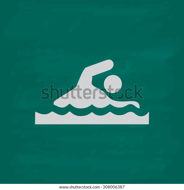 Swimming. Icon. Imitation draw with white chalk on green chalkboard. Flat Pictogram and School board background. Vector illustration symbol