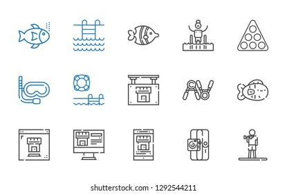 swimming icons set. Collection of swimming with exercise, sport, real estate, fish, swimming pool, snorkel, pool, fishes. Editable and scalable icons.