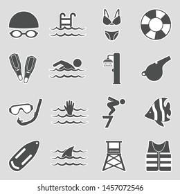 Swimming Icons. Sticker Design. Vector Illustration.