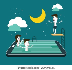 Swimming and Jumping in smart device pool. social network and relaxing abstract concept. flat design vector illustration