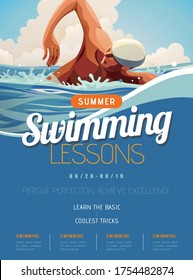Swimming lesson promotion poster in flat style, with professional athlete doing freestyle in open water