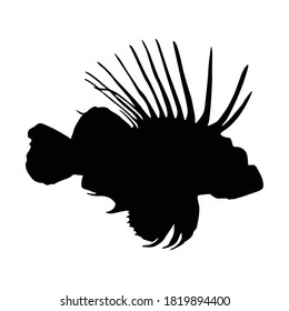 Swimming Lionfish (Pterois Volitans) On a Side View Silhouette Found In Map Of Western and Central Pacific Ocean. Good To Use For Element Print Book, Animal Book and Animal Content