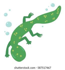 Swimming lizard icon. Cartoon illustration of swimming lizard vector icon for web