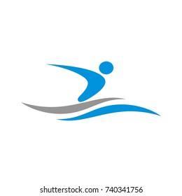 Swimming logo design template vector