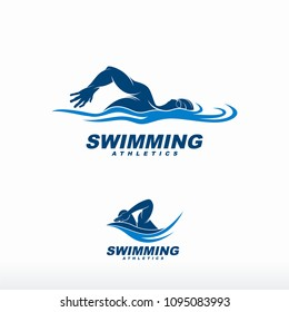 Swimming logo designs vector, Creative Swimmer logo Vector