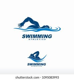 Swimming logo designs vector, Creative Swimmer logo Vector
