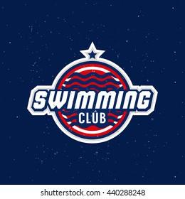 swimming logo, label, badge, emblem, logotype, icon, sign, symbol, sticker, pictogram