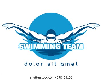 Swimming Logo. Swimmer icon with caption. Vector illustration
