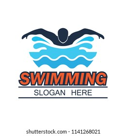 swimming logo with text space for your slogan / tag line, vector illustration