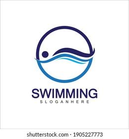 Swimming logo vector illustration design.Swimming Club. Swimmer logo design template