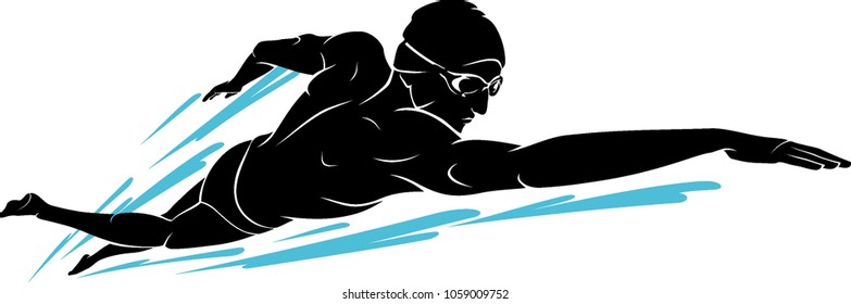 Swimming Male Front Crawl Silhouette