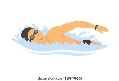 Swimming man - modern colorful vector cartoon character illustration