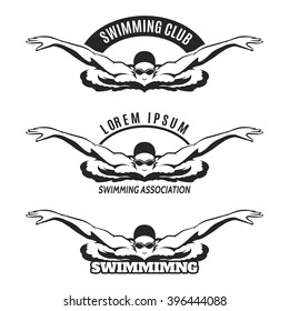 Swimming man on wave logo or swimmer icon. Vector illustration