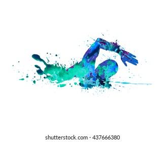 Swimming man. Splash paint