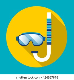 Swimming Mask Goggles Glasses Snorkeling Underwater Diving Icon Flat Vector Illustration