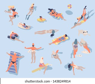 Swimming people. Cartoon characters doing summer activities in water, swimming sunbathing surfing. Vector illustrations vacation at sea