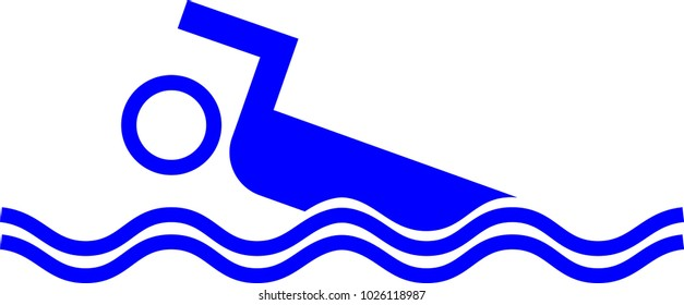 Swimming pictogram with waves
